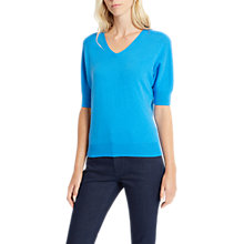 Buy Jaeger Slouch Short Sleeve Cashmere Top, Mid Blue Online at johnlewis.com