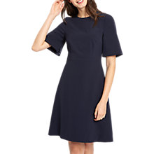 Buy Jaeger Tailored Fit and Flare Open Sleeve Dress, Navy Online at johnlewis.com