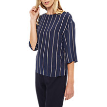 Buy Jaeger Colour Block Striped Silk Top, Navy/Multi Online at johnlewis.com