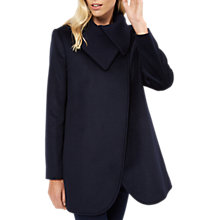 Buy Jaeger Cocoon Knitted Collar Wool Coat, Navy Online at johnlewis.com