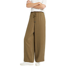 Buy Jaeger Lyocell Wide Leg Trousers, Khaki Online at johnlewis.com