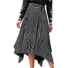 Buy L.K.Bennett X Preen Shelly Graphic Print Asymmetric Skirt, Black Online at johnlewis.com