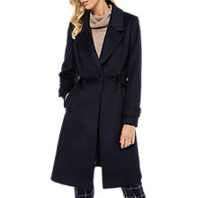 Buy Jaeger Wool Button Waist Fitted Coat, Navy Online at johnlewis.com