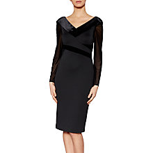 Buy Gina Bacconi Justine Velvet Panel Dress, Black Online at johnlewis.com