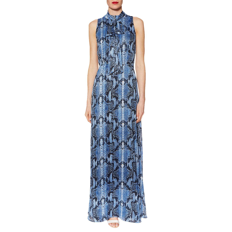 Gina Bacconi Delilah Snake Print Maxi Dress, Blue at John Lewis