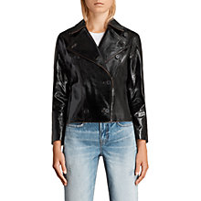 Buy AllSaints Deebee Leather Payton Blazer, Black Online at johnlewis.com