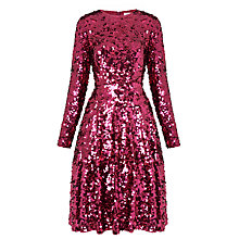 Buy L.K. Bennett X Preen Sonic Sequin Flared Dress, Deep Rose Online at johnlewis.com