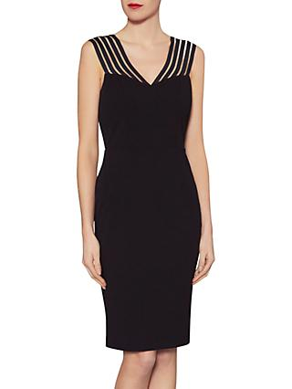 Gina Bacconi Katie Stripe Illusion Dress, Black