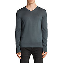 Buy AllSaints Mode V Neck Jumper, Flint Green Online at johnlewis.com