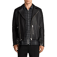 Buy AllSaints Kaho Leather Biker Jacket, Black Online at johnlewis.com