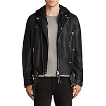 Buy AllSaints Stens Leather Biker Jacket, Black Online at johnlewis.com