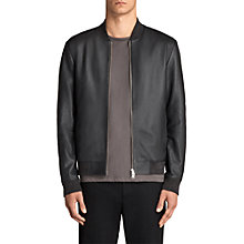 Buy AllSaints Kieran Leather Bomber Jacket, Slate Blue Online at johnlewis.com