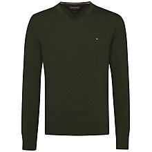 Buy Tommy Hilfiger Plaited Cotton Silk V-Neck Jumper Online at johnlewis.com