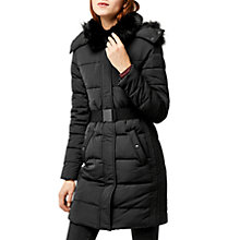 Buy Warehouse Long Panel Belted Wadded Coat, Black Online at johnlewis.com