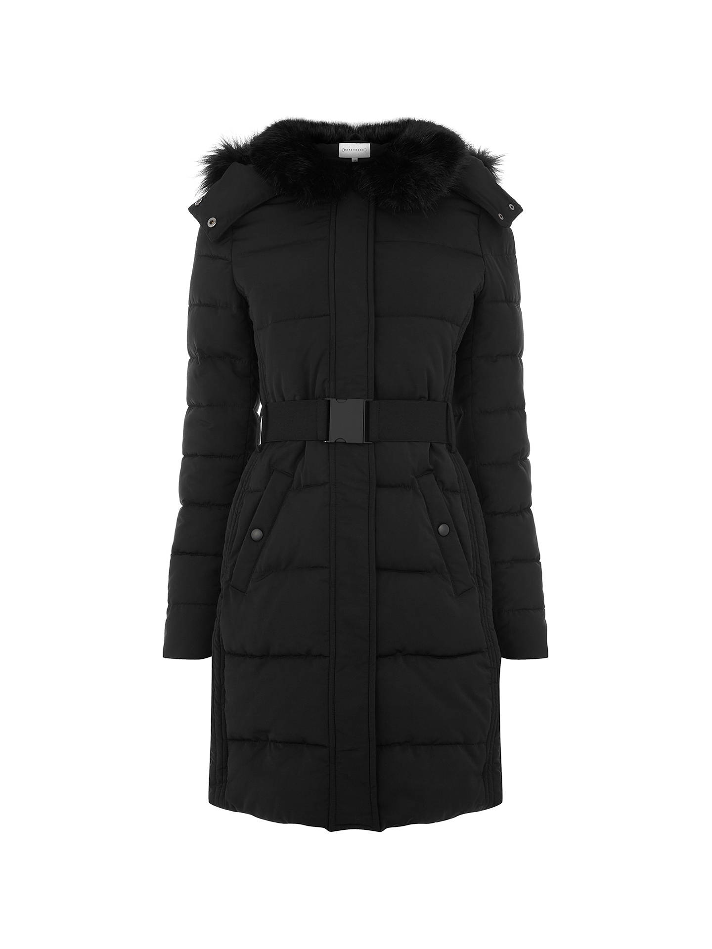BuyWarehouse Long Panel Belted Wadded Coat, Black, 6 Online at johnlewis.com