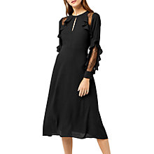 Buy Warehouse Ruffle Lace Insert Dress, Black Online at johnlewis.com
