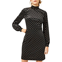 Buy Warehouse Patterned Polka Dot Velvet Dress, Black Pattern Online at johnlewis.com