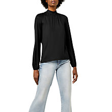 Buy Warehouse Polo Tie Back Long Sleeve Top, Black Online at johnlewis.com