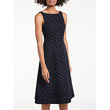 Buy Boden Caitlin Flock Spot Spot Dress, Navy Online at johnlewis.com