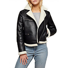Buy Miss Selfridge Shearling Biker Jacket, Black Online at johnlewis.com