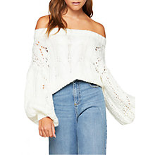 Buy Miss Selfridge Bardot Cable Knitted Jumper, Cream Online at johnlewis.com