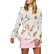 Buy Miss Selfridge Floral Ruffle Blouse, Ivory/Multi Online at johnlewis.com