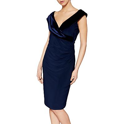 Gina Bacconi Catherine Velvet V Neck Dress, Navy