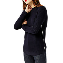 Buy Warehouse Ribbed Zip Side Jumper, Navy Online at johnlewis.com