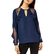 Buy Warehouse Ruffle Lace Insert Blouse Online at johnlewis.com