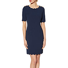Buy Gina Bacconi Daphne Button Shoulder Scalloped Shift Dress, Spring Navy Online at johnlewis.com