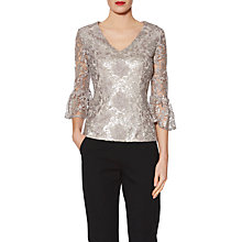 Buy Gina Bacconi Mia Sequin Embroidery V Neck Metallic Top, Taupe Online at johnlewis.com