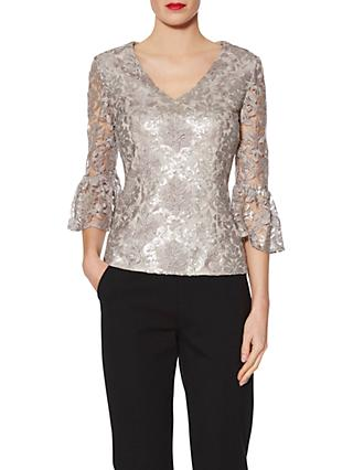 9059dfe08bb7cb Gina Bacconi Mia Sequin Embroidery V Neck Metallic Top, Taupe