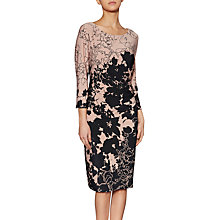 Buy Gina Bacconi Amelia Floral Print Dress, Taupe/Black Online at johnlewis.com
