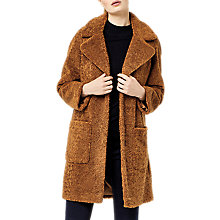 Buy Warehouse Teddy Faux Fur Coat, Tan Online at johnlewis.com