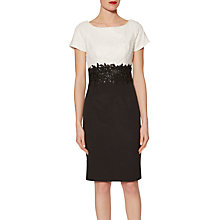 Buy Gina Bacconi Rebecca Contrast Beaded Dress, Monochrome Online at johnlewis.com