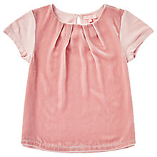 Buy Jigsaw Girls' Velvet And Jersey Swing Top, Pink Online at johnlewis.com