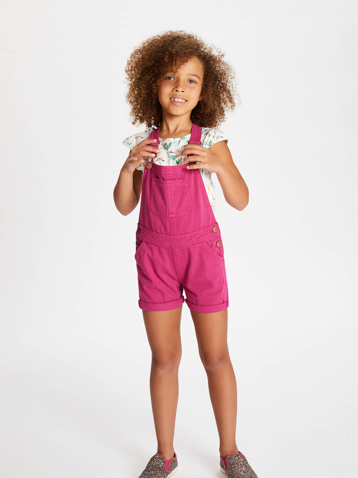 BuyJohn Lewis & Partners Girls' Dungaree Shorts, Pink, 2 years Online at johnlewis.com