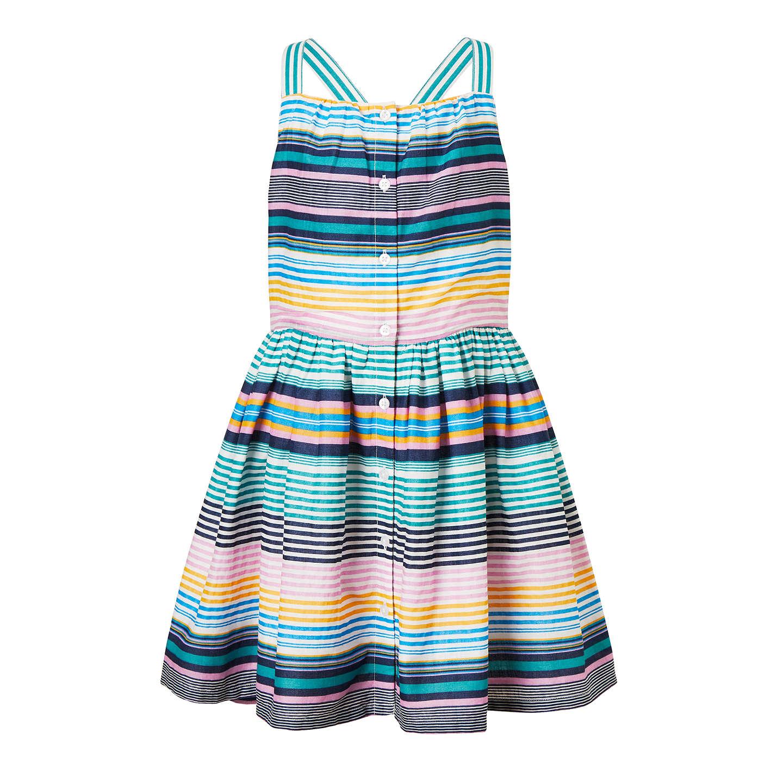 John Lewis Girls\' Button Through Stripe Dress, Multi at John Lewis