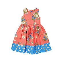 Buy John Lewis Girls' Double Floral Print Prom Dress, Red Online at johnlewis.com