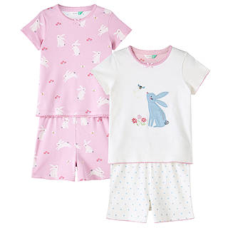 Easter toys soft cuddly chicks bunnies at john lewis john lewis childrens meadow bunnies print pyjamas pack of 2 pinkwhite negle Image collections