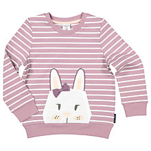 Buy Polarn O. Pyret Children's Rabbit Crew Neck Top, Purple Online at johnlewis.com