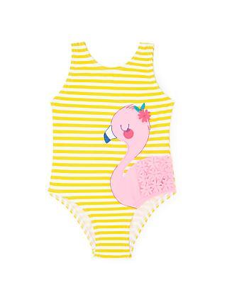 John Lewis Baby Flamingo Appliqué Stripe Swimsuit b12320c3ae2a