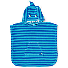 New baby gifts baby gifts baby child john lewis buy john lewis shark novelty towel poncho blue online at johnlewis negle Image collections