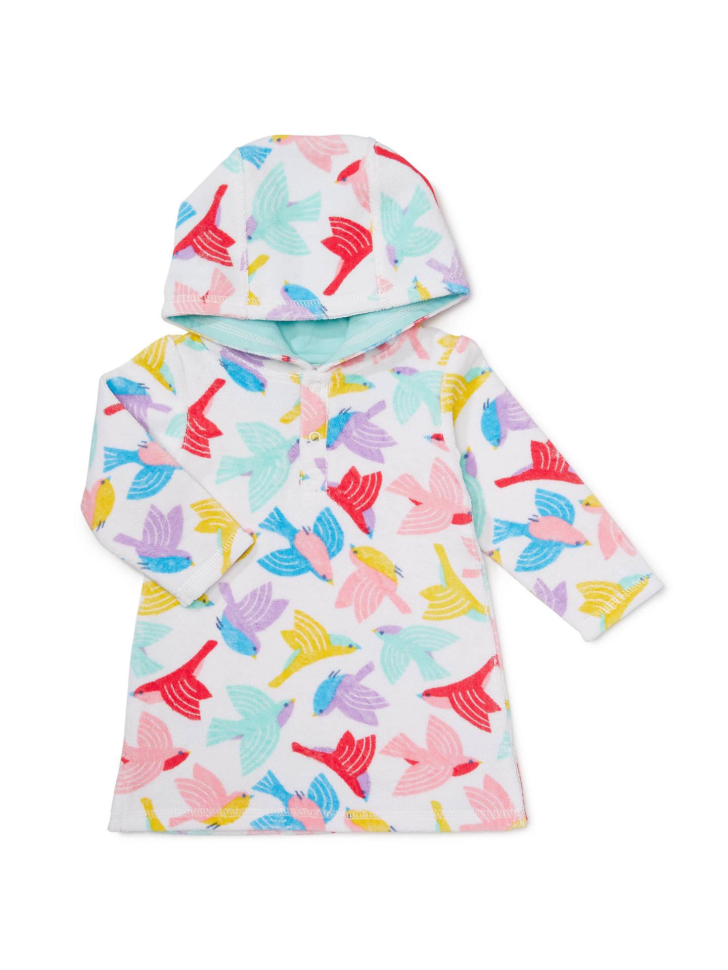 John Lewis Baby Bird Print Towel Poncho, Multi at John ...