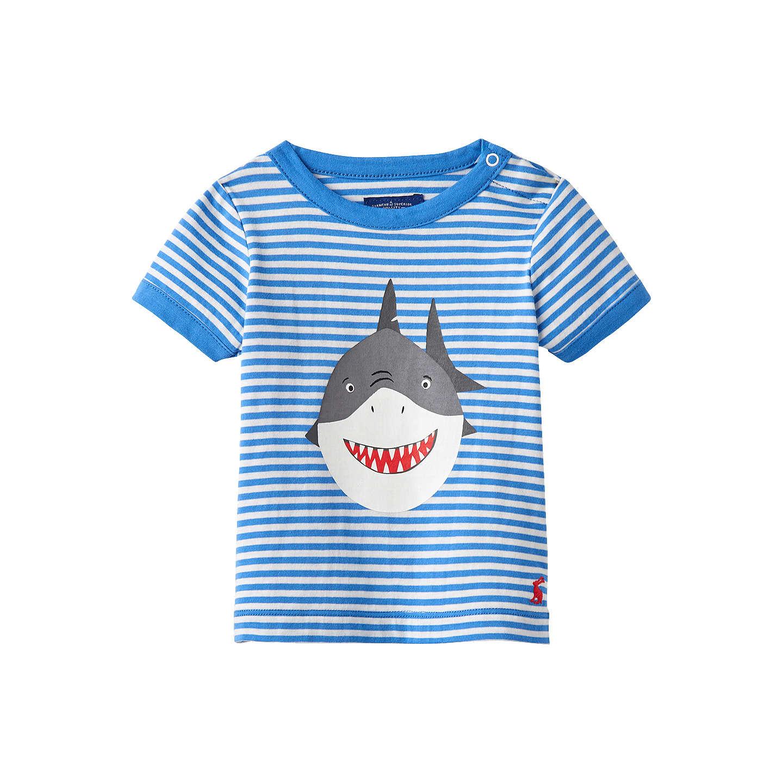 Baby Joule Stripe Shark T Shirt Blue at John Lewis