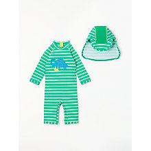 Buy John Lewis Baby Dino SunPro Swimsuit and Hat, Pool Green Online at johnlewis.com