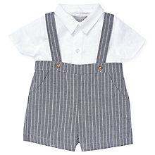 Buy John Lewis Heirloom Collection Baby Strap Shirt Shorts Set, Grey Online at johnlewis.com