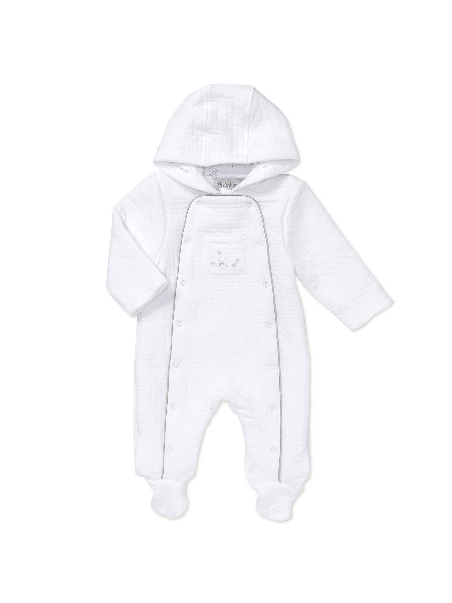 946e391f7436 John Lewis   Partners Heirloom Collection Baby Star Wadded Pramsuit ...