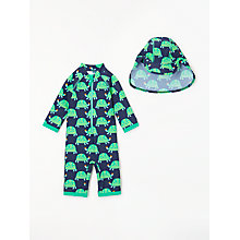 Buy John Lewis Baby Tortoise SunPro Swimsuit and Hat, Navy/Green Online at johnlewis.com