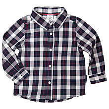 Buy Polarn O. Pyret Baby Long Sleeve Check Shirt, Grey Online at johnlewis.com